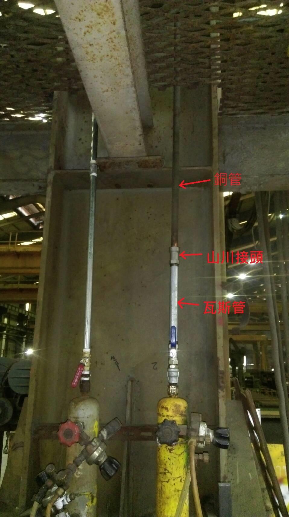 山川接頭-連結瓦斯和銅管